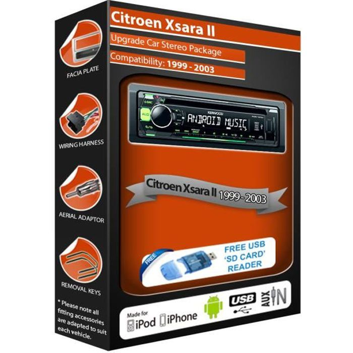 Citroen Xsara II car stereo radio, Kenwood CD MP3 Player with Front USB AUX In