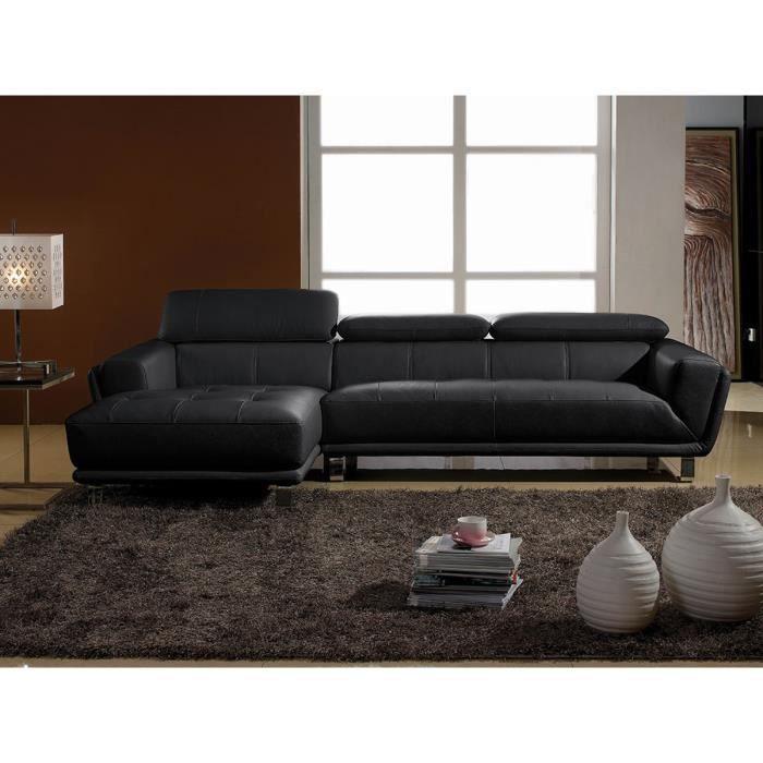 Canapé d'angle gauche en cuir prestige noir CELINE