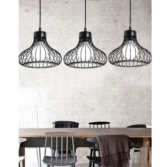 Lustre Rétro Lampe Vintage Suspension Industrielle Lustre Forme Calebasse en Métal E27 Douille de 3 Ampoules Conception