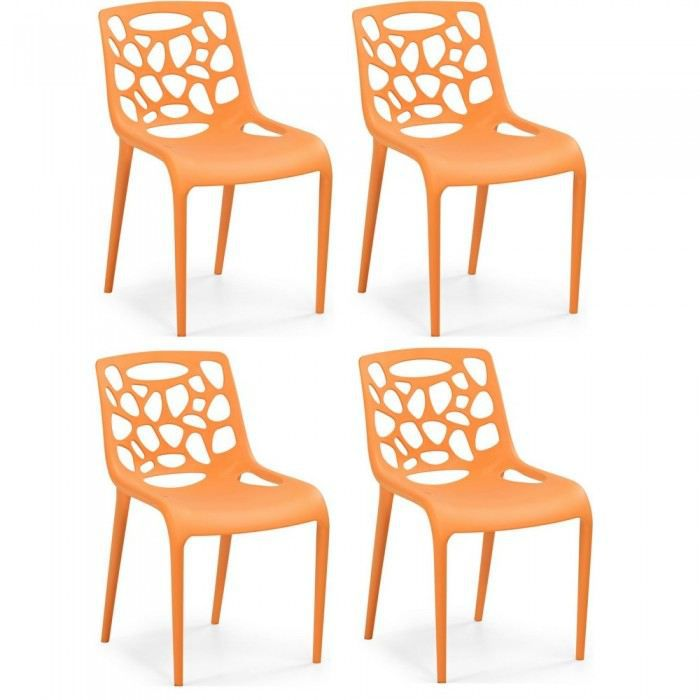 chaises de cuisine design fruity x4 couleur o achat vente chaise orange cdiscount. Black Bedroom Furniture Sets. Home Design Ideas