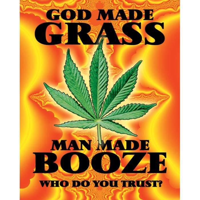 affiche cannabis god made grass achat vente affiche cdiscount. Black Bedroom Furniture Sets. Home Design Ideas