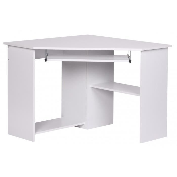 bureau d 39 angle moderne pour ordinateur 103x97 cm coloris blanc blanc achat vente bureau. Black Bedroom Furniture Sets. Home Design Ideas