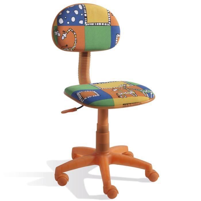 chaise bureau enfant orange motif animeaux di achat vente chaise de bureau orange cdiscount. Black Bedroom Furniture Sets. Home Design Ideas