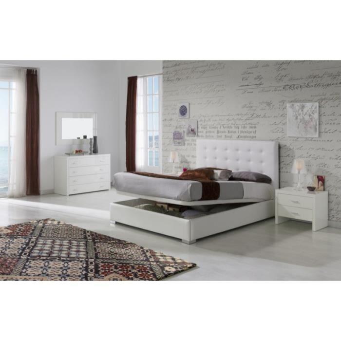 STRUCTURE DE LIT Lit coffre GRANTI 180x200cm en PU blanc - L 200 x