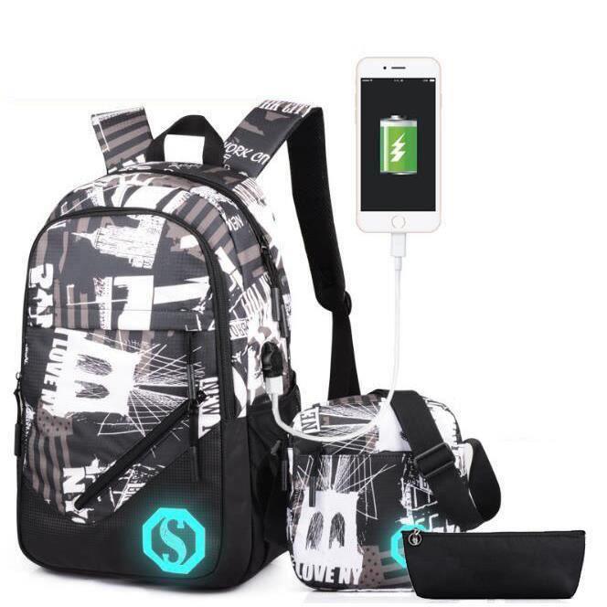 SWAREY Sac à dos + trousse + petit sac à bandoulière avec port de charge USB