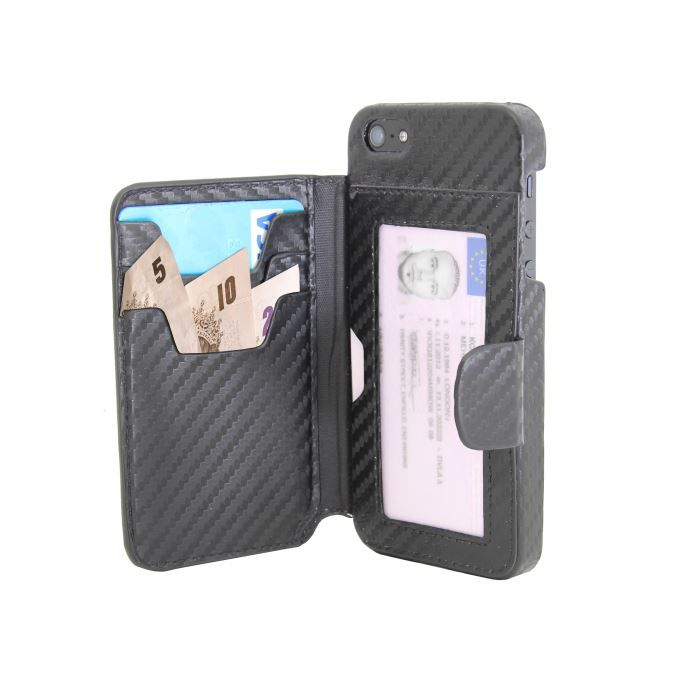 Etui iphone 5 portefeuille noir achat vente etui for Housse iphone 5 c