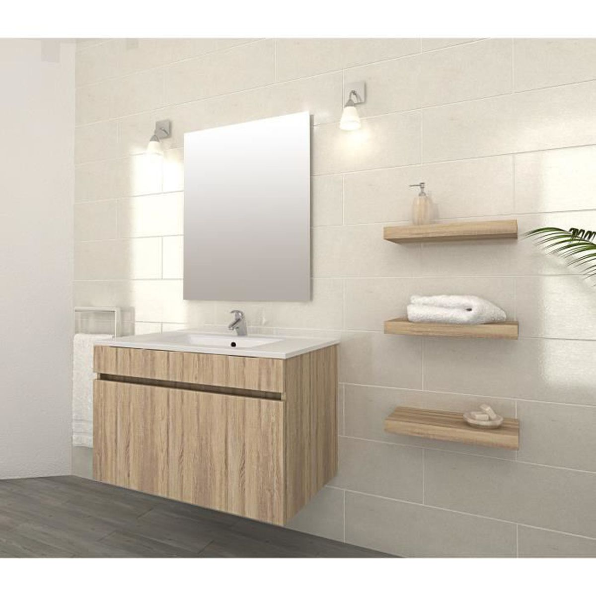 LUNA Ensemble Salle De Bain Simple Vasque L 80 Cm