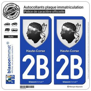 2 Autocollants de plaque dimmatriculation auto 2B Corse LogoType