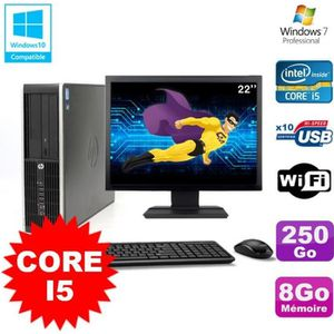 UNITÉ CENTRALE + ÉCRAN Lot PC HP Elite 8200 SFF Core I5 3.1GHz 8Go 250Go