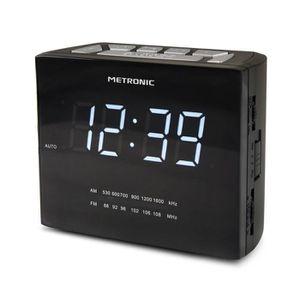 Radio réveil Metronic 477019 Radio-Réveil à Affichage LED Blanc