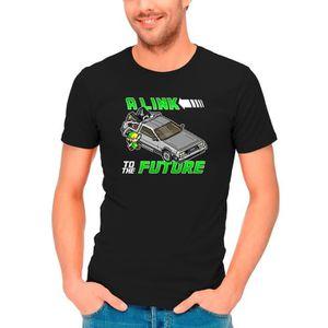 T-SHIRT T-shirt Noir Zelda parodique Link et la Delorean d