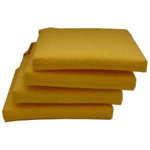 COUSSIN DE CHAISE  Lot de 4 assises déhoussables coloris jaune - Dim