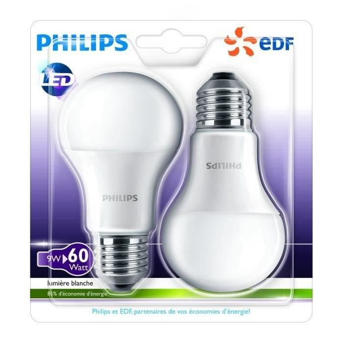 philips edf lot de 2 ampoules led e27 9w quivalence 60w forme standard achat vente ampoule. Black Bedroom Furniture Sets. Home Design Ideas