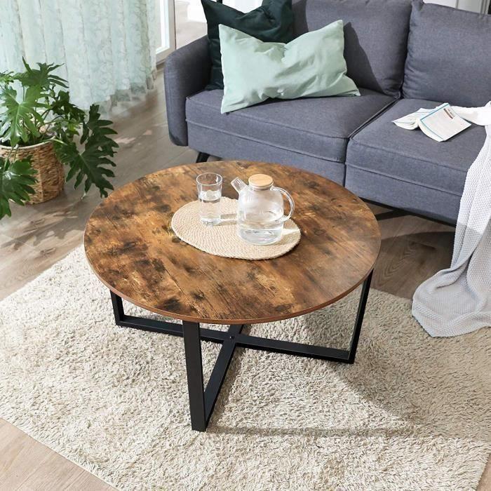 Table Basse Bois et Metal Ronde, Table Basse Design Bois , Table Basse industrielle