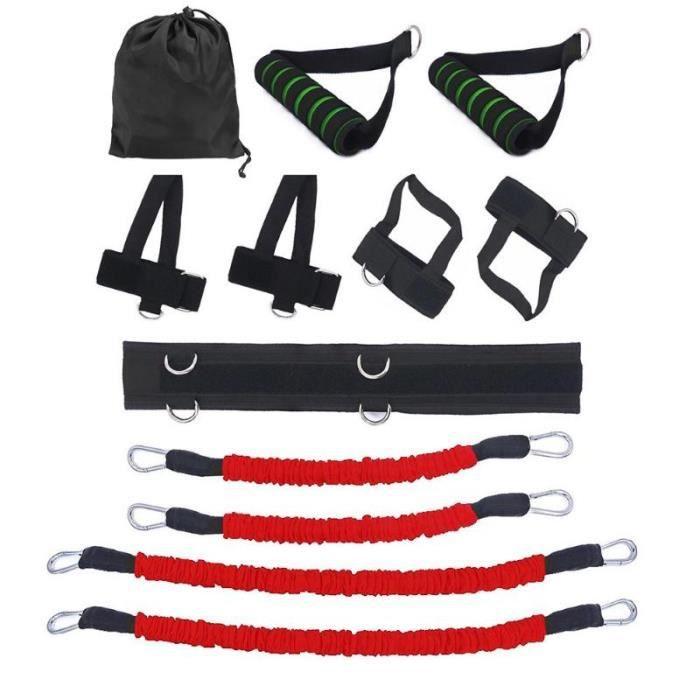 12 pcs-ensemble Bandes de Elastique Résistance pour entraînement de boxe Taille et Jambes exercice fitness Rouge