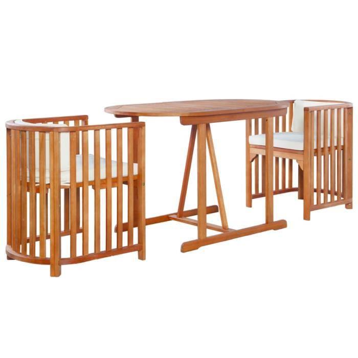 Mobilier de jardin 7 pcs Bois d'eucalyptus massif - 2 x chaise+1 x table+2 x coussin de siège+2 x coussin de dossier