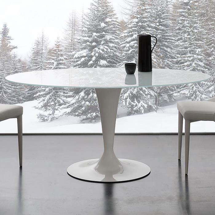 Table ovale blanche en verre et acier OLIVIA