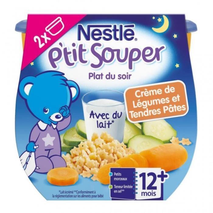 Nestlé P'tit Souper Plat du Soir Crème de Légumes et Tendres Pâtes (+12 mois) par 2 pots de 200g (lo