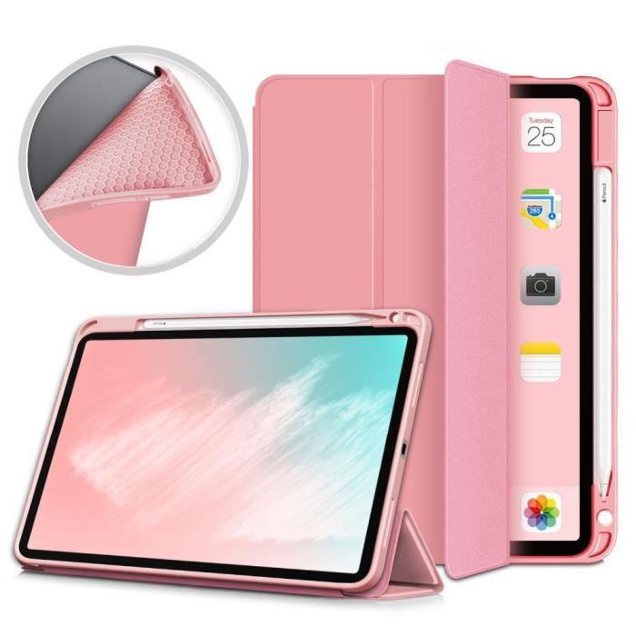 Coque pour iPad Air 4 10.9 Pouces 2020 avec porte-crayon ,Etui de Protection Housse avec Fonction Sommeil / Réveil Automatique,Rose