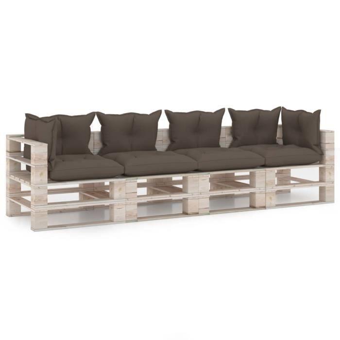 VE7838Canapé palette à 4 places de jardin Canapé d'Extérieur Sofa Canapé Relaxation Salon de jardin avec coussins Bois de pin