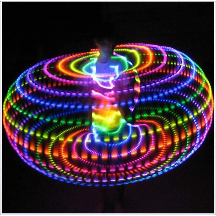 LED Hula Hoop 4 Tailles Fitness Cercle Cerceau Briller Lumi&egravere Cerceaux Poids Cerceaux Jouets Sportif Danser Cerceau Gym &108