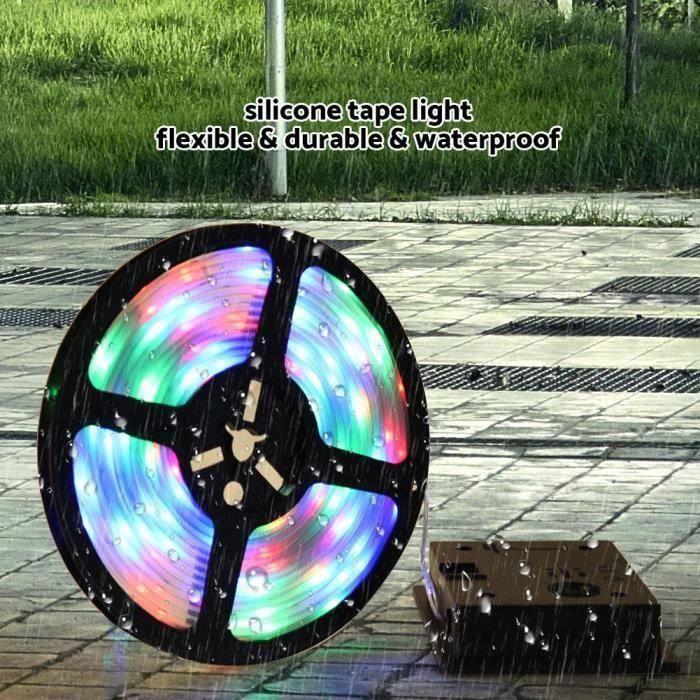 5m de lampe à ruban flexible de lumière féerique solaire actionnée solaire de bande de RVB LED multicolore