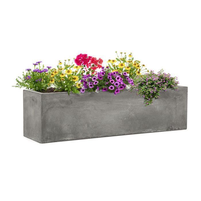 Blumfeldt Solidflor - Bac à plantes jadinière - 75 x 20 x 20 cm - Fibre de verre aspect béton - intérieur-extérieur- gris clair