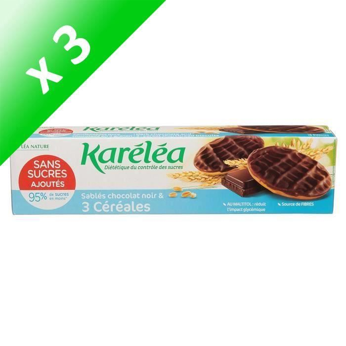 [LOT DE 3] KARELEA Sablés 3 céréales chocolat noir - Sans sucre ajouté - 150 g
