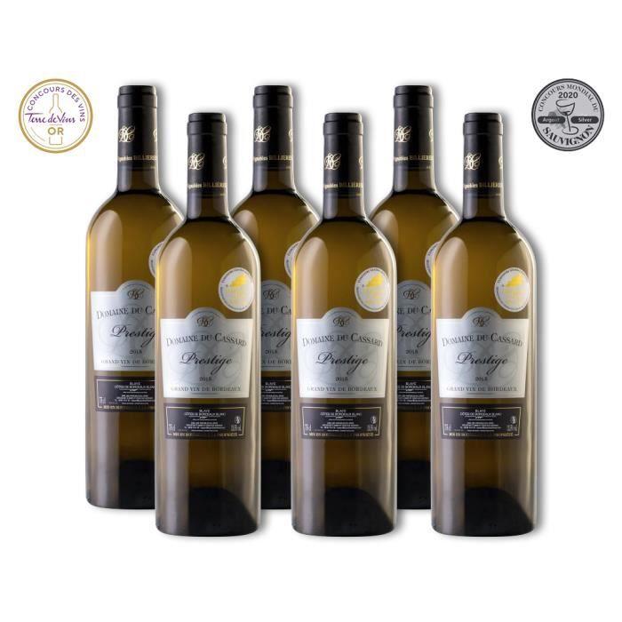 Lot de 6 bouteilles Vin Blanc Blaye Côtes de Bordeaux Domaine du Cassard – Cuvée Prestige- Médaille d'or & Médaille Argent
