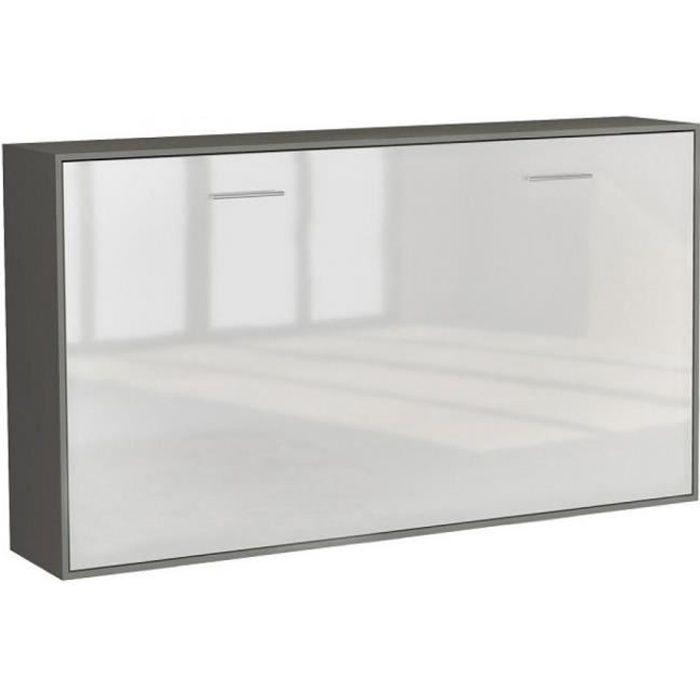 Armoire lit horizontale escamotable STRADA-V2 structure gris graphite mat façade blanc brillant couchage 90*200 cm. bi color MDF