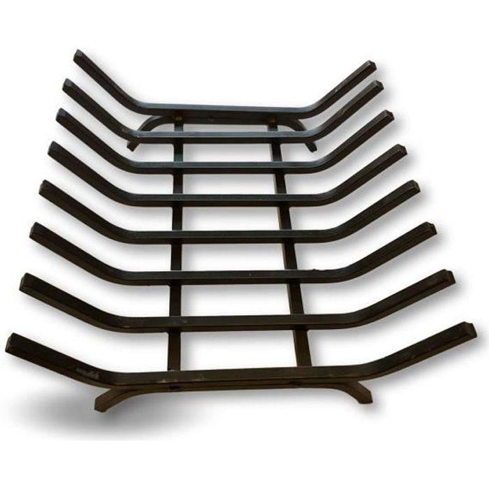 Grille porte bûches en acier forgé 8 barreaux - 40*36*16 cm - Stockage bois - Support foyers ouverts chenêts - Kibros 4SC4005