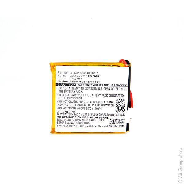 Batterie GPS 3.7V 1100mAh - Blister(s) x 1 - 1ICP/8/40/40 1ICP/8/40/40 1S1P -NX