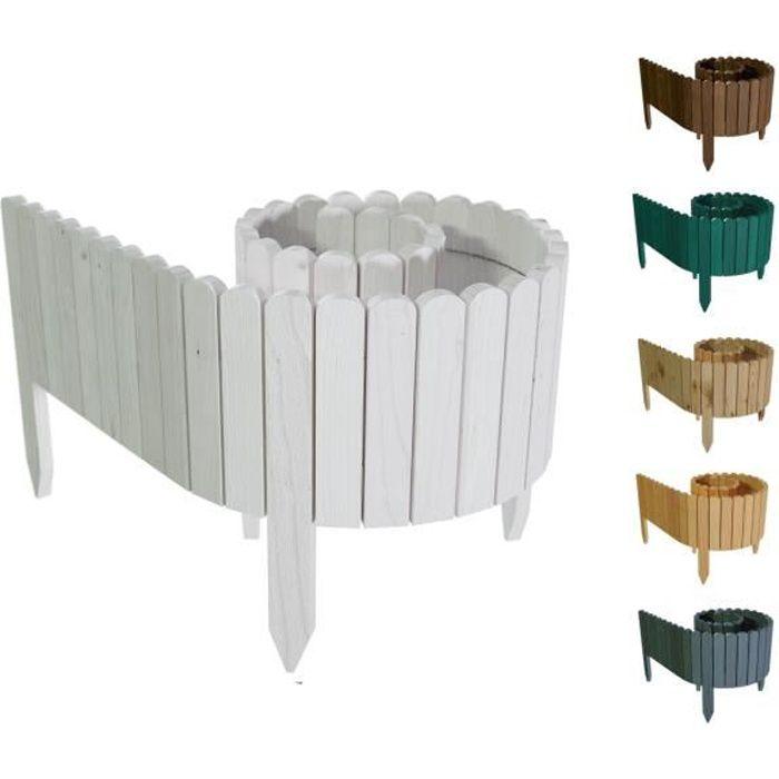 Floranica® Bordure déroulable en bois - 203 cm - Hauteur: 40cm - Blanc - délimitation de plates-bandes - imprégnée