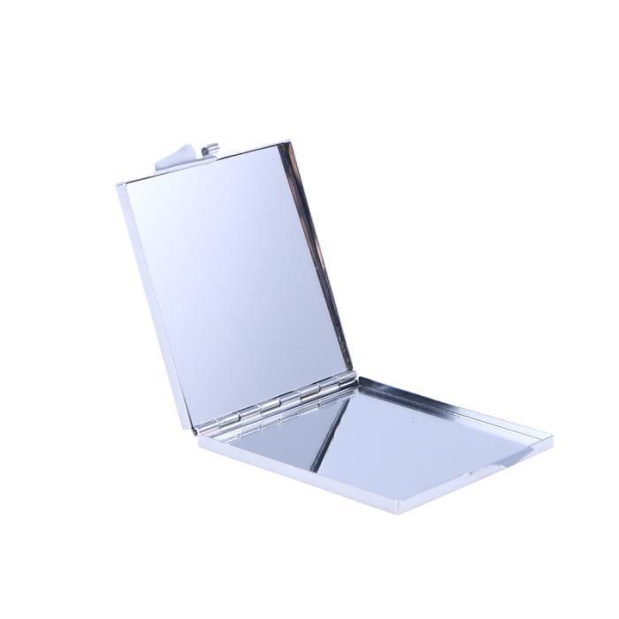 1Pc petit miroir portable boîtier métallique double de voyage cosmétique de maquillage durable pliant pour les MIROIR DE POCHE