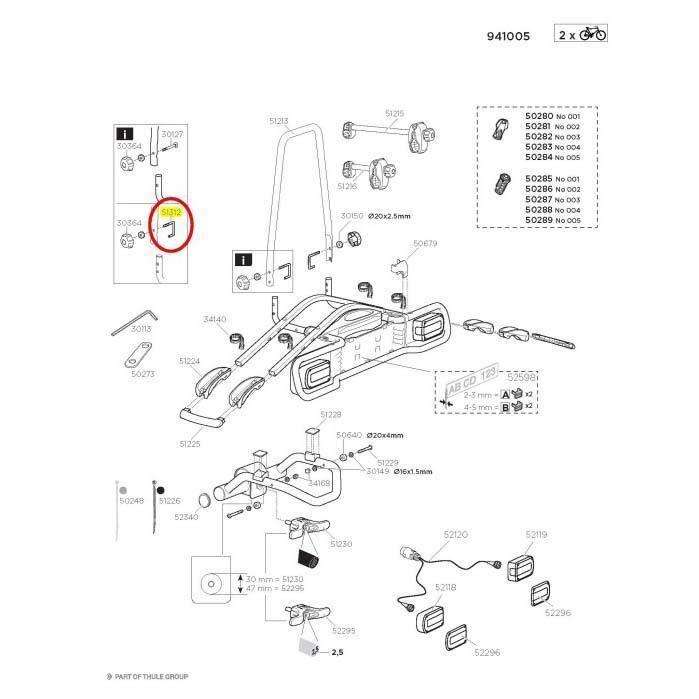 Transporteurs Pièces détachées Thule J-bolt M8 51312 Euroride-euroway - Taille Unique - Noir