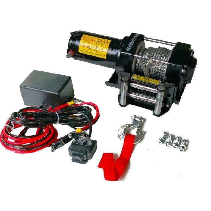 Treuil électrique 12V 1360KG 1000W, Treuil à câble longueur 9.2m Ø5.5mm