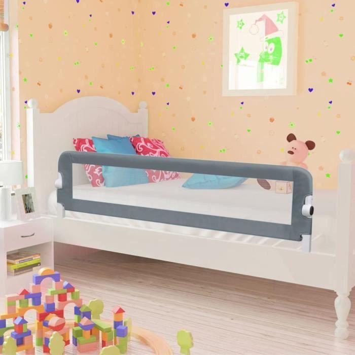 Petitfortune Barrière de sécurité de lit enfant Gris 120x42 cm Polyester #2 #2