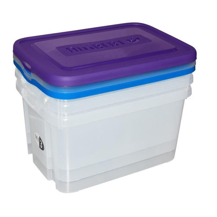 Stable Empiler Gris Lot Box Plastique 40 cm x 30 cm x 21 cm 25 L NEUF