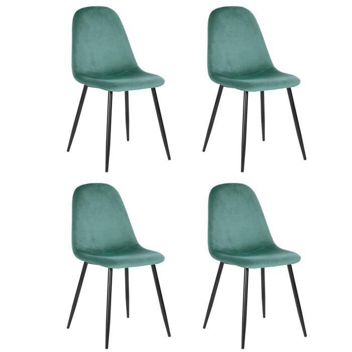 Lot De 4 Chaises Scandinave Fauteuil Industriel Velours Vert Pied Métal Salle à Manger Cuisine Salon Bureau Chambre