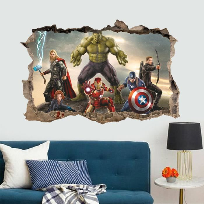The Avengers Anime Cassé Stickers Muraux 3d Vinyle Autocollants