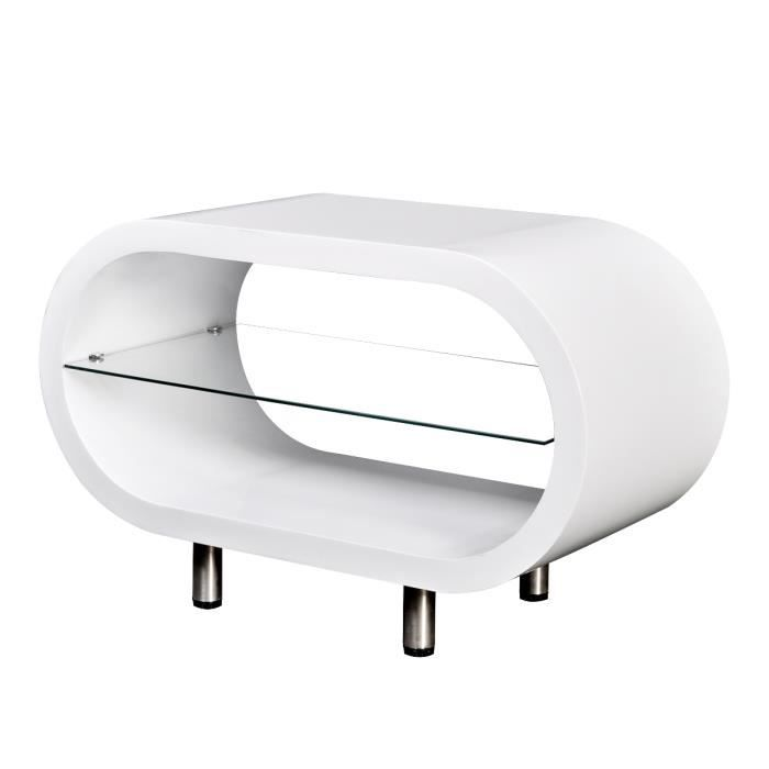 Table basse meuble tv ovale blanc brillant achat vente table basse tabl - Meuble tv ovale blanc ...