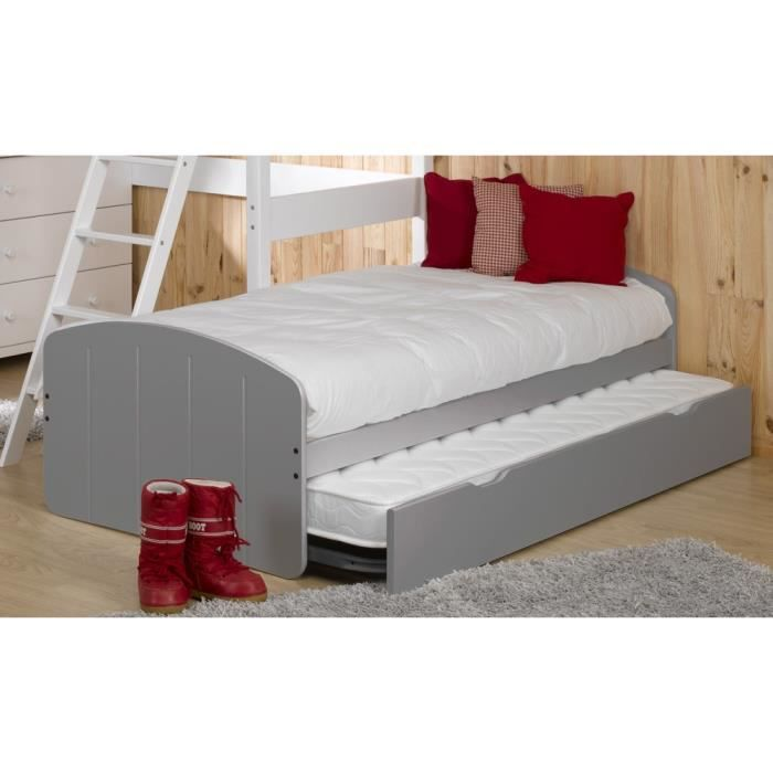 lit gigogne 2 matelas 90x200 midi taupe achat vente. Black Bedroom Furniture Sets. Home Design Ideas