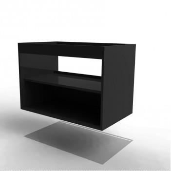 caisson meuble sous vasque noir brillant achat. Black Bedroom Furniture Sets. Home Design Ideas