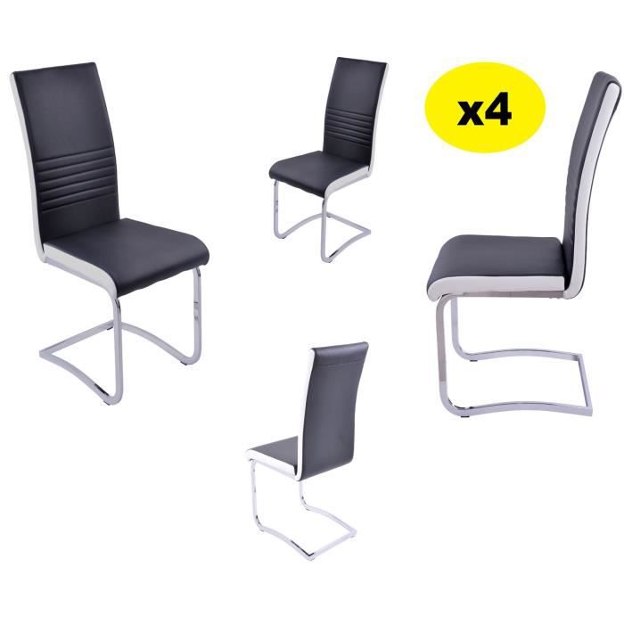 Lot 4 chaises coloris blanc noir penny chaise alliant for Chaise noir blanc