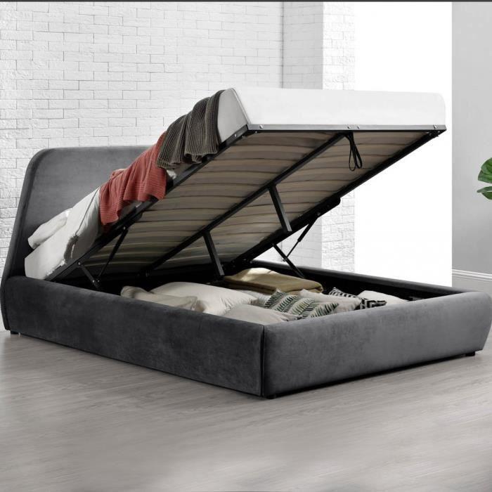 STRUCTURE DE LIT Le Sweet : Structure de Lit en velour gris avec Co