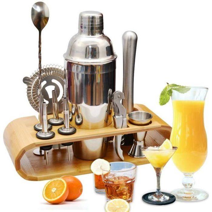 kit doutils de bar pour barman et grand kit de m/élangeur de boissons 750 ml ytrew Ensemble de 14 shaker /à cocktail en acier inoxydable avec support en bambou