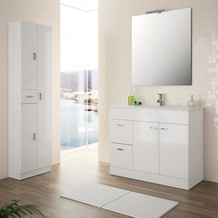 meuble complet salle de bain motril 1000 blanc achat vente salle de bain complete meuble. Black Bedroom Furniture Sets. Home Design Ideas
