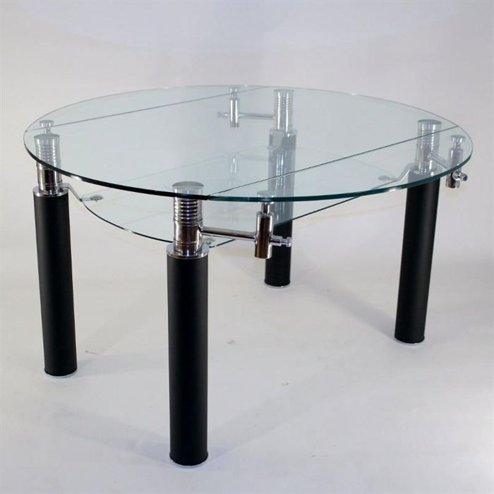 Table en verre ronde rallonge extensible nero achat for Table tv en verre