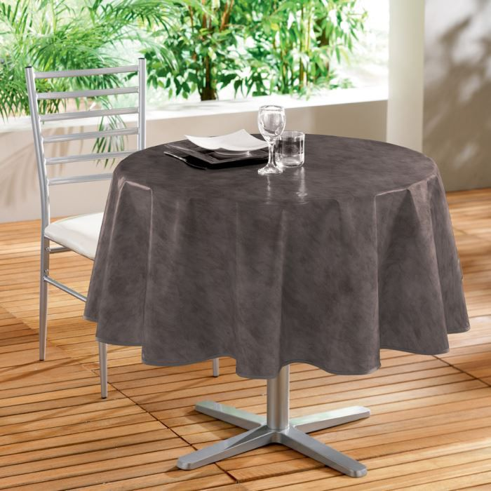 nappe pvc ronde 160cm beton cire taupe achat vente nappe pvc ronde 160cm beton cdiscount. Black Bedroom Furniture Sets. Home Design Ideas