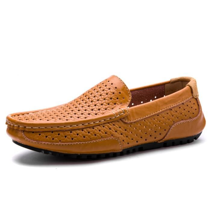 Mocassin Hommes Cuir Loafer Detente Casual Chaussure BDG-XZ089Orange44 flW4KQ